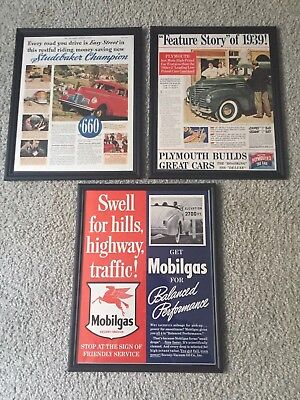 1939 Car ads.  Great condition.  Framed. 11 x 14.