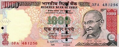 INDIA 1000 Rupees 2011 P107a Letter L UNC Banknote