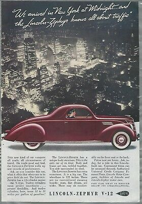 1937 LINCOLN ZEPHYR advertisement, Lincoln Zephyr V-12, New York City