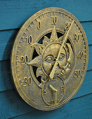 Wall Clock Thermometer Garden Clock Sun And Moon Outside In Designs