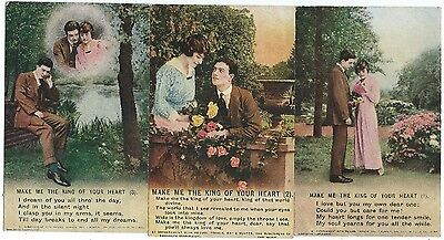 BAMFORTH - MAKE ME THE KING OF YOUR HEART  Set of 3 Song Card Postcards 4817/1-3