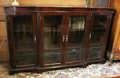 6ft LONG Beveled Glass 4 Door Flame Mahogany Lawyers Office Bookcase MINT HEAVY