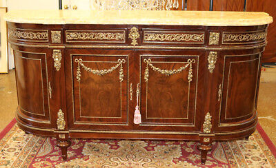 Massive FINE RESTORED French Fossil Marble Top Mahogany Sideboard Server Buffet