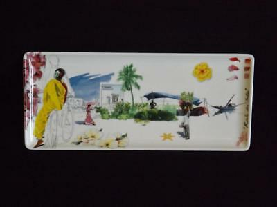 """Gien Route des Indes Rectangular Sandwich Cheese Serving Tray 14"""" EXC"""