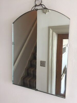 Small Vintage Frameless Mirror Arched Simple Scandi 34x25cm