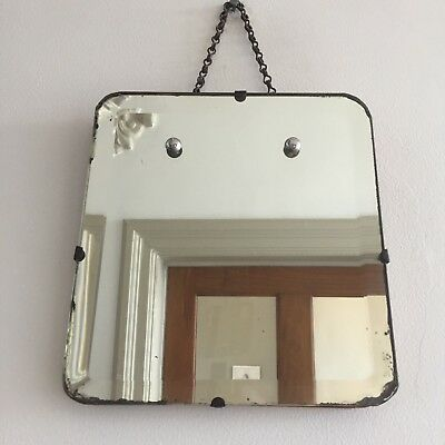 Small Old Vintage Frameless Mirror Bevelled Art Deco 30s 40s Original Chain 24cm