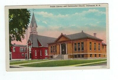 NH Claremont New Hampshire antique linen post card Library & Universalist Church