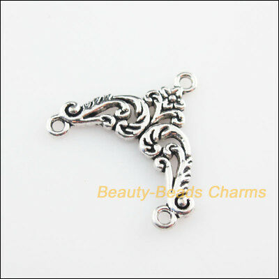 8 New Connectors Triangle Flower Tibetan Silver Tone Charms 23x27mm
