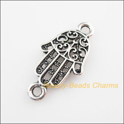 6 New Connectors Flower Hand Palm Tibetan Silver Tone Charms 16.5x32mm
