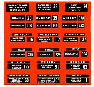 MODEL BUS WATERSLIDE TRANSFERS 1/76th UNITED AUTO DESTINATION BLINDS 21 DIFF