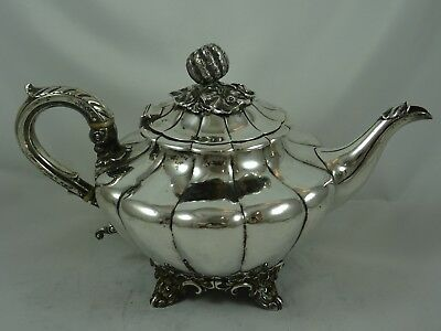 STUNNING WILLIAM IV solid silver `MELON` shaped TEA POT, 1837, 758gm