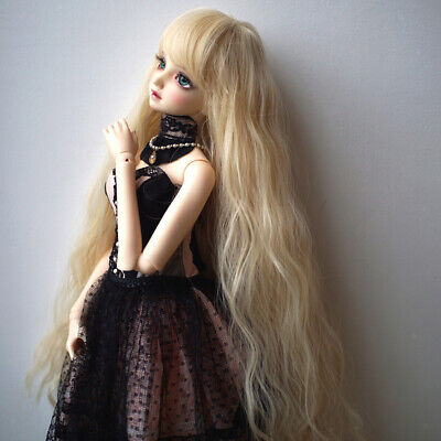 BJD Doll Full Wig 9-10 inch 22-24cm for DOD LUTS SD DZ Golden Curled Hair