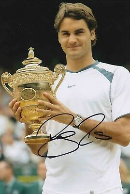 Roger Federer Authentic Signed Tennis 12X8 Photo Aftal#198