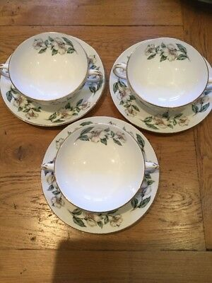 3 X Soup Bowl And Saucer - Crown Staffordshire - Christmas Rose VGC