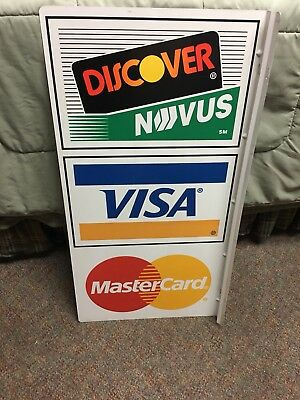 Discover Visa Mastercard Flange Double sided sign. Clean nr mint condition.