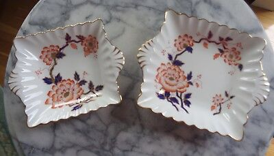 Pair of Vintage Crown Staffordshire Large/Small Nut Dishes - Crysanthemum