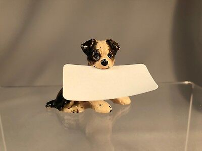 Hubley Cast Iron Boston Terrier Dog Place Card Holder