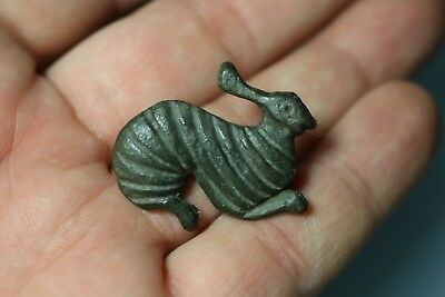 Ancient Interesting Roman Bronze Zoomorphic Fibula Brooch Rabbit 3rd-4th AD