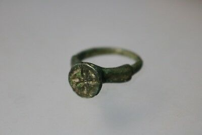 Ancient Interesting Roman Bronze Engraved Ring 3rd-4th Century AD