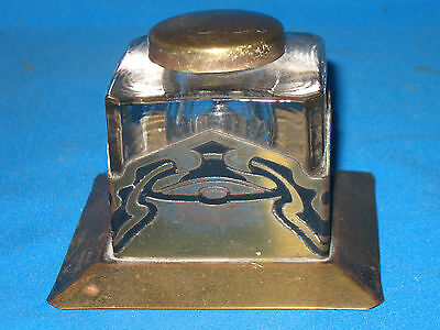 Antique ART NOUVEAU 3 1/4-inch Brass and Glass Inkwell