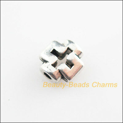 25Pcs Tibetan Silver Tone Smooth Tiny Cross Spacer Beads Charms 8mm