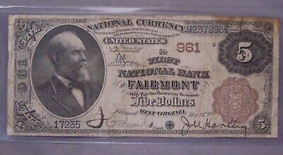 ✰ 1882 $5 Fairmont - West Virginia National Bank Note Currency Brown Back ✰