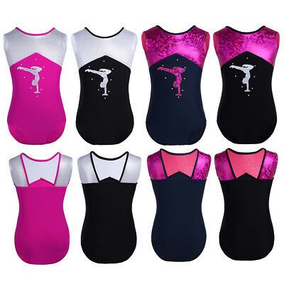 Kids Girls Glittery Ballet Dance Gymnastics Tank Leotard Sportswear Jumpsuit