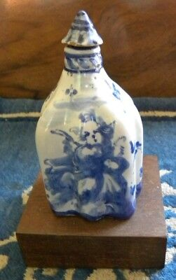 17th Century Savona blue and white ceramic bottle with top - very rare!