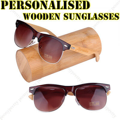 Personalised Engraving Bamboo Wooden Sunglasses UV400 Tan Lens Groomsmen Gift