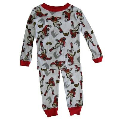 Power Rangers Big Boys White Red Character Print All-Over 2 Pc Pajama Set 8-10