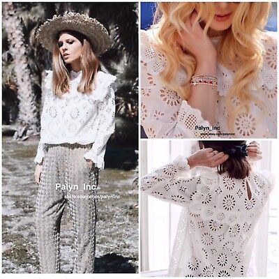 32a16daf3b8102 NWT ZARA SS18 OFF WHITE DIE CUT EMBROIDERED BLOUSE TOP shirt 7521 067 XS S  M L