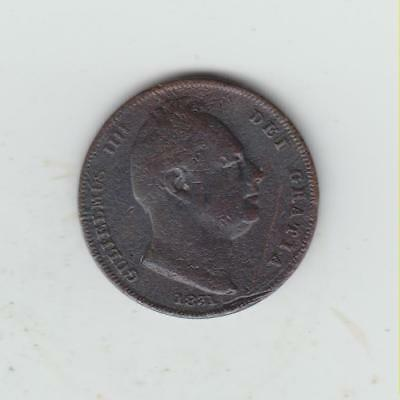 1831 William IV Copper Farthing, Fine, Marks/Scratches