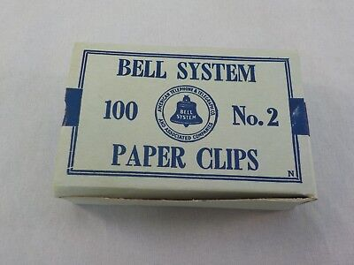 Vintage Bell System Paper Clips No 2 American Telephone & Telegraph New in Box