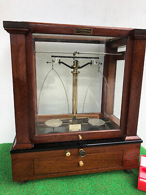 Voland and Sons glass analytical balance scale jewelry diamond antique wooden