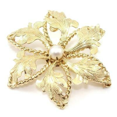 14K Yellow Gold Pearl Textured Leaf Flower Rope Pin Brooch Pendant