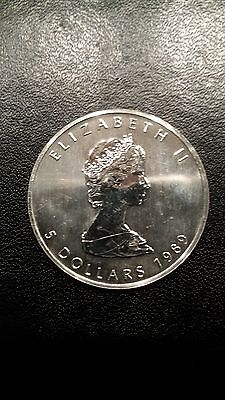 5 Dollars Canada Maple Leaf - 1 Unze Maple Leaf 1989  Silber