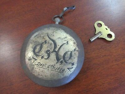 Antique1880 Tin Advertising Pocket Watch Oversized Wind Up Clock Unknown