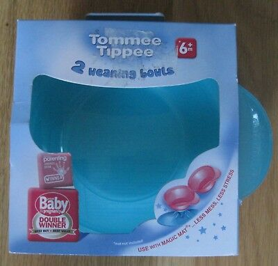 TWO BRAND NEW TOMMEE TIPPEE 'AWARD WINNING' WEANING BOWLS...blue