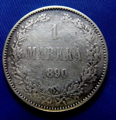 Finland 1890-L 1 Markka Low Mintage Silver Coin