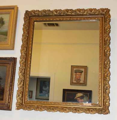 """Antique Ornate Framed Wall Mirror Large 27"""" x 33"""" Gold Local Pick Up Only"""