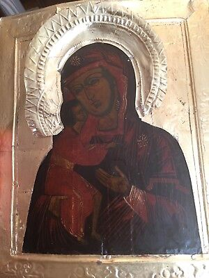 Old Russian Orthodox Icon - Madonna and Child