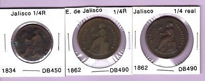 3 Jalisco 1/4 reales coins, 1834 and (2x) 1862, Mexico state coppers