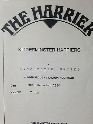 1990/1 Kidderminster Harriers V Manchester United