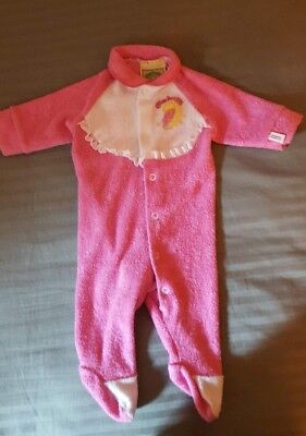Vintage Cabbage Patch Kids 1983 Bright PINK Newborn Baby Sleeper Pajamas