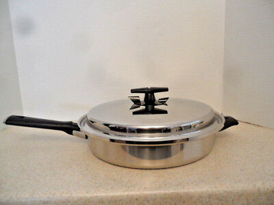 """✅ VOLLRATH 304 S Tri-Ply Stainless Steel 11"""" Fry Pan / Skillet With Vented Lid"""