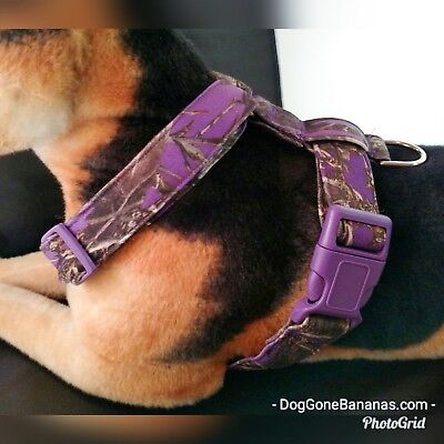 Purple Camouflage Dog Harness Optional Leash and Seat Belt Handmade Cotton