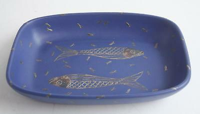Emilia Castillo Plata Pura Mexico Mr. 13 Silver Minnows Blue Ceramic Bowl