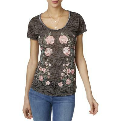 INC Womens Burnout Sequined Floral Print Casual Top Shirt BHFO 5058