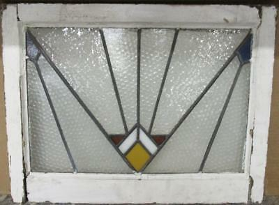 "OLD ENGLISH LEADED STAINED GLASS WINDOW Nice Retro Geometric 23.75"" x 18"""