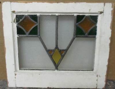 """OLD ENGLISH LEADED STAINED GLASS WINDOW Colorful Abstract 19"""" x 13"""""""